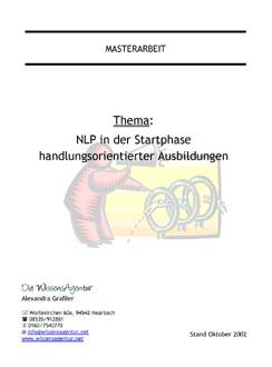 NLP in der Startphase handlungsorientierter Ausbildungen