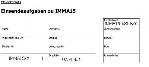 Einsendeaufgaben zu IMMA15