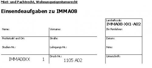 Einsendeaufgaben zu IMMA08