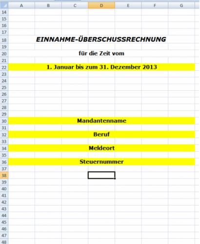 Einnahme - Überschussrechnung EÜR EXCEL Kleinunternehmer
