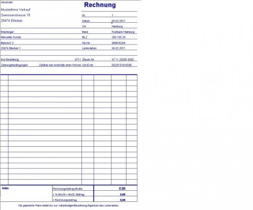 Excel Rechnungsformular mit/ohne MwSt. - Protokollfunktion