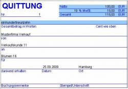 PC Quittung - Quittungsprogramm mit Journal (Excel)