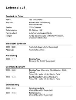 Lebenslauf mit Deckblatt - Muster -schwarze Schrift