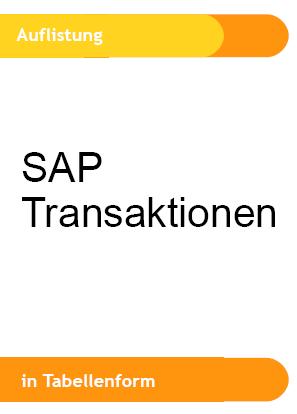Referenz SAP Transaktionscodes