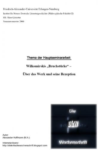 """Wilkomirsiks """"Bruchstücke"""" - Über das Werk und seine Rezeption"""