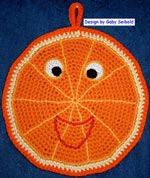 Häkelanleitung für *Funny Orange* Motiv-Topflappen