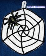 Häkelanleitung für *Spinne im Netz* Motiv-Topflappen