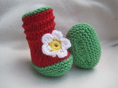Strickanleitung Erdbeer Babyschuhe Sohlenlänge 10 cm
