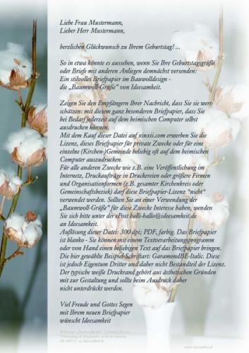 Briefpapier Baumwoll-Grüße (Priv.-Lizenz)