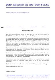 Arbeitszeugnis Bürokauffrau / Bürokaufmann Note 1 - sehr gut