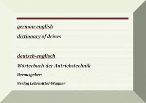 Technisches Woerterbuch Antriebstechnik deutsch-englisch