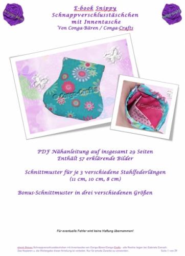 Nähanleitung e-book Schnappverschlusstäschchen Snippy