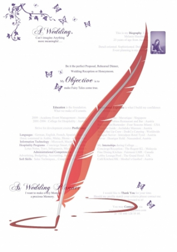 CV Resume Lebenslauf Template 'Wedding Planner'