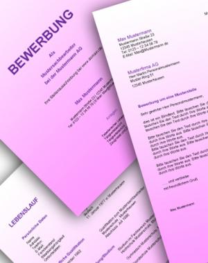Komplette Bewerbungsunterlagen - Farbe: Pink