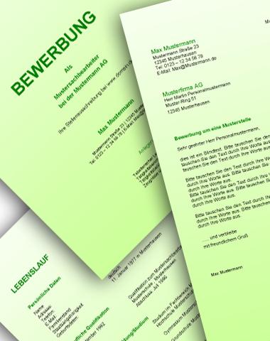 Komplette Bewerbungsunterlagen - Farbe: Grün