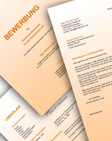 Komplette Bewerbungsunterlagen - Farbe: Orange