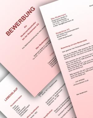 Komplette Bewerbungsunterlagen - Farbe: Rot