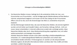 Einsendeaufgabe MBW 02 Medienbetriebswirt, MBW2, MBW02