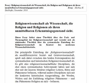 Religionswissenschaft als Wissenschaft | Fächerkanon