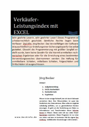 Verkäufer-Leistungsindex mit EXCEL