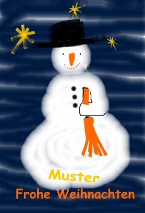 Weihnachtskarte Schneemann Unikat