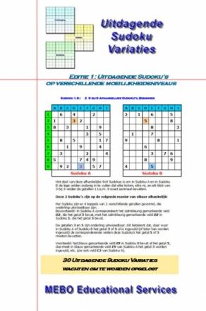 Uitdagende Sudoku Variaties Editie 001