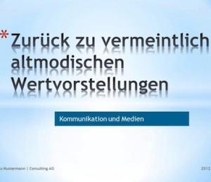 Präsentation/Vortrag zur sofortigen Weiternutzung