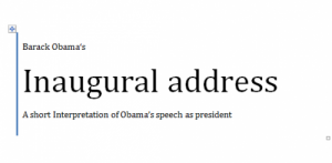 Obama's Inaugural Address