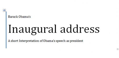 Obama's Inaugural Address