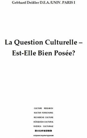 La Question Culturelle – Est-Elle Bien Posée?