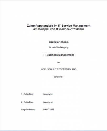 Bachelorthesis: Zukunftspotenziale im IT-Service-Management