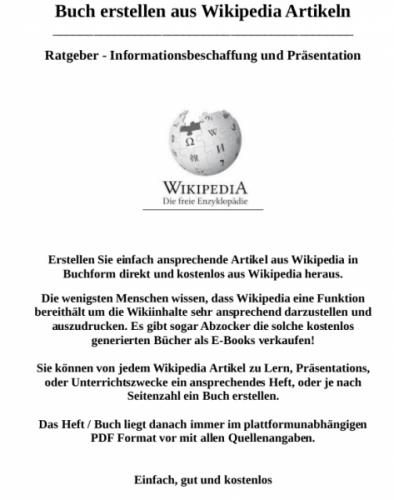 Buch aus Wikipedia Artikeln erstellen