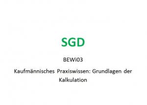 BEWI03 Einsendeaufgabe Grundlagen der Kalkulation ESA SGD