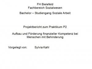 Projektbericht: Aufbau und Förderung finanzieller Kompetenz