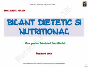 Bilant dietetic si nutritional