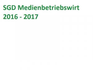 SGD Medienbetriebswirt MBW00F-XX2-A03 Einsendeaufgabe 2016