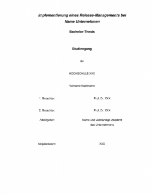 Bachelor: Implementierung eines Release-Managements Note 1,3