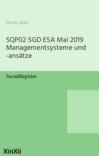 SQP02 SGD ESA Mai 2019  Managementsysteme und -ansätze