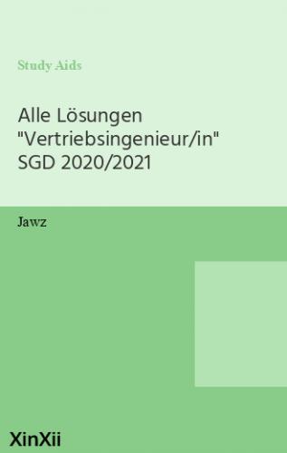 """Alle Lösungen """"Vertriebsingenieur/in"""" SGD 2020/2021"""