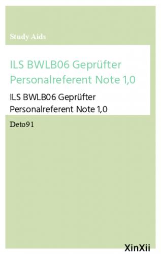 ILS BWLB06 Geprüfter Personalreferent Note 1,0