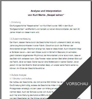 Textinterpretation kurzgeschichte